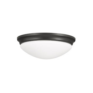 Barrington Oil Rubbed Bronze Three-Light Flush Mount with White Opal Etched Shade