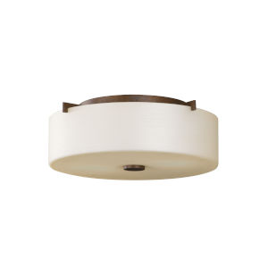 Sunset Drive Corinthian Bronze Two-Light Flush Mount with Striated Pearl Shade