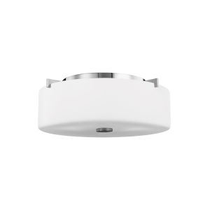 Sunset Drive Chrome Two-Light Flush Mount with White Opal Etched Shade