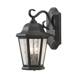 Martinsville Black Two-Light Outdoor Wall Sconce with Clear Seeded Shade