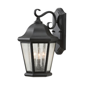 Martinsville Black Three-Light Outdoor Wall Sconce with Clear Seeded Shade