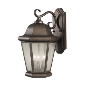 Martinsville Corinthian Bronze Three-Light Outdoor Wall Sconce with Clear Seeded Shade