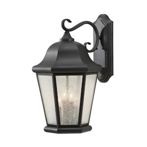 Martinsville Black Four-Light Outdoor Wall Sconce with Clear Seeded Shade