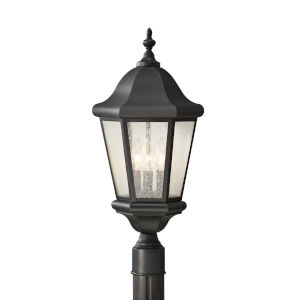Martinsville Black Three-Light Outdoor Post Mount with Clear Seeded Shade