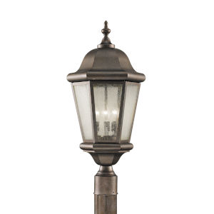 Martinsville Corinthian Bronze Three-Light Outdoor Post Mount with Clear Seeded Shade
