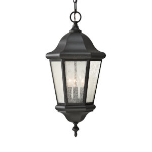 Martinsville Black Three-Light Outdoor Pendant with Clear Seeded Shade