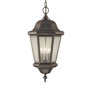 Martinsville Corinthian Bronze Three-Light Outdoor Pendant with Clear Seeded Shade
