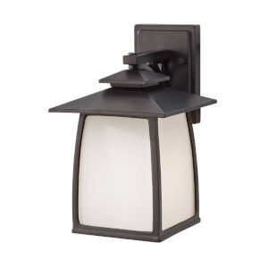 Wright House Oil Rubbed Bronze Eight-Inch One-Light Outdoor Wall Sconce with White Opal Etched Shade