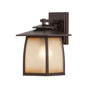 Wright House Sorrel Brown Eight-Inch One-Light Outdoor Wall Sconce with Striated Ivory Shade
