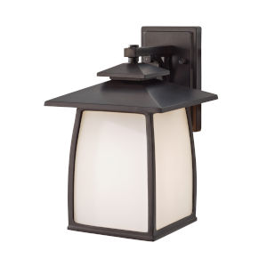 Wright House Oil Rubbed Bronze Nine-Inch One-Light Outdoor Wall Sconce with White Opal Etched Shade