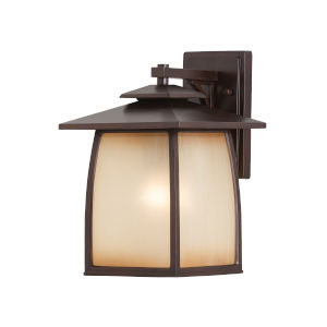 Wright House Sorrel Brown Nine-Inch One-Light Outdoor Wall Sconce with Striated Ivory Shade