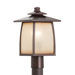 Wright House Sorrel Brown One-Light Outdoor Post Mount with Striated Ivory Shade