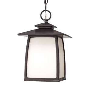 Wright House Oil Rubbed Bronze One-Light Outdoor Pendant with White Opal Etched Shade
