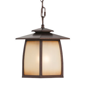 Wright House Sorrel Brown One-Light Outdoor Pendant with Striated Ivory Shade