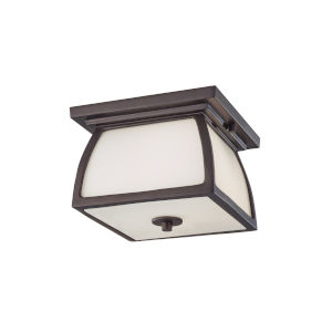 Wright House Oil Rubbed Bronze Two-Light Outdoor Flush Mount with White Opal Etched Shade