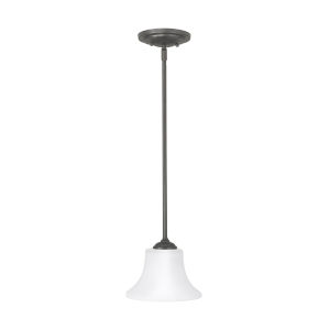 Barrington Oil Rubbed Bronze One-Light Pendant with White Opal Etched Shade