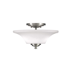 Barrington Brushed Steel 13-Inch Two-Light Semi-Flush Mount with White Opal Etched Shade