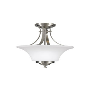 Barrington Brushed Steel 15-Inch Two-Light Semi-Flush Mount with White Opal Etched Shade