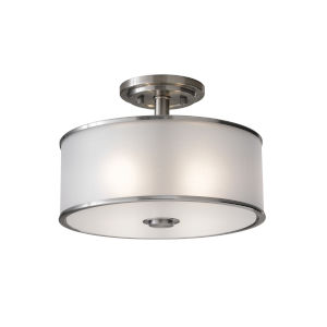 Casual Luxury Brushed Steel Two-Light Semi-Flush Mount with Silver Organza Shade