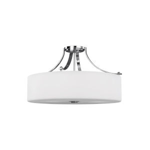Sunset Drive Chrome Four-Light Semi-Flush Mount with White Opal Etched Shade