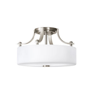 Sunset Drive Brushed Steel Two-Light Semi-Flush Mount with White Opal Etched Shade