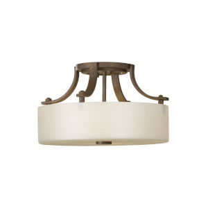 Sunset Drive Corinthian Bronze Two-Light Semi-Flush Mount with Striated Pearl Shade
