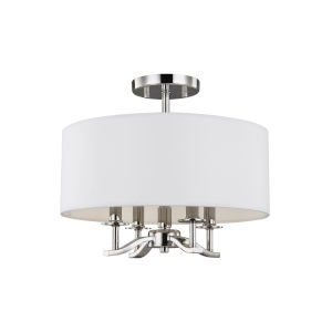 Hewitt Polished Nickel Four-Light Semi-Flush Mount with White Parchment Shade