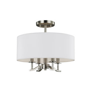 Hewitt Satin Nickel Four-Light Semi-Flush Mount with White Parchment Shade