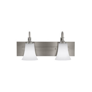 Barrington Brushed Steel Two-Light Bath Vanity with White Opal Etched Shade