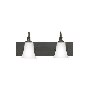 Barrington Oil Rubbed Bronze Two-Light Bath Vanity with White Opal Etched Shade