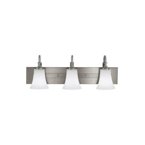 Barrington Brushed Steel Three-Light Bath Vanity with White Opal Etched Shade