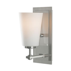 Sunset Drive Brushed Steel One-Light Bath Vanity with White Opal Etched Shade