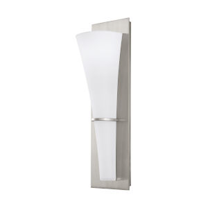 Barrington Brushed Steel One-Light Wall Sconce with White Opal Etched Shade