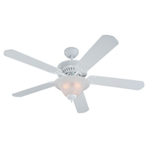 Quality Pro Deluxe Three-Light White 52-Inch Ceiling Fan with White Faux AlabasterGlass