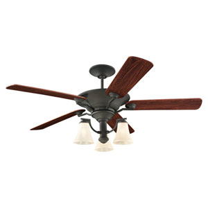 Somerton Three-Light Blacksmith 56-Inch Ceiling Fan with Cafe Tint Glass