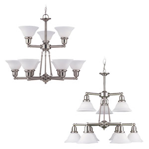 Sussex Brushed Nickel Nine-Light Chandelier
