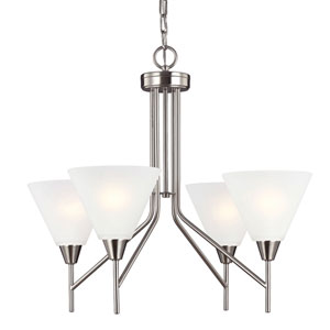 Ashburne Brushed Nickel Four-Light Chandelier with Satin Etched Glass