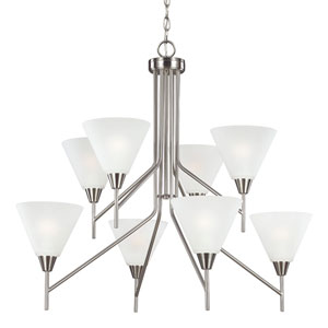 Ashburne Brushed Nickel Eight-Light Chandelier with Satin Etched Glass