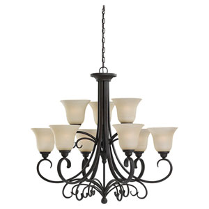 Del Prato Chestnut Bronze Nine-Light Chandelier