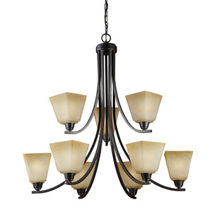 Parkfield Flemish Bronze Nine-Light  Chandelier with Creme Parchment Glass