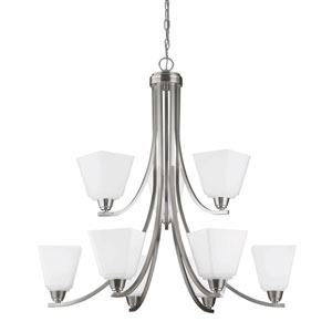 Parkfield Brushed Nickel Nine-Light  Chandelier with Etched Glass