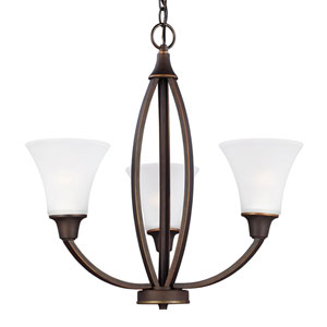 Metcalf Autumn Bronze Three-Light  Chandelier with Satin Etched Glass