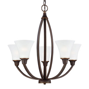 Metcalf Autumn Bronze Five-Light Chandelier in Autumn Bronze with Satin Etched Glass