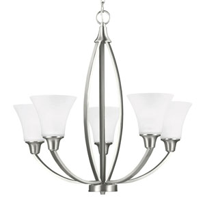 Metcalf Brushed Nickel Five-Light Chandelier with Satin Etched Glass