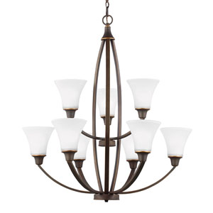 Metcalf Autumn Bronze Nine-Light  Chandelier with Satin Etched Glass