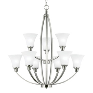 Metcalf Brushed Nickel Nine-Light  Chandelier with Satin Etched Glass
