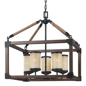 Dunning Stardust Five-Light Chandelier with Creme Parchment Glass