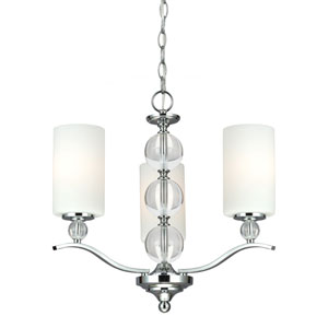 Englehorn Chrome and Optic Crystal Three Light Single Tier Chandelier