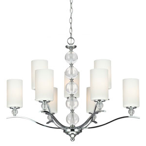 Englehorn Chrome and Optic Crystal Nine Light Multi-Tier Chandelier