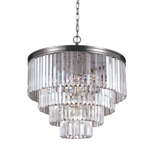 Carondelet Antique Brushed Nickel Six-Light  Chandelier with Prismatic Glass Crystal